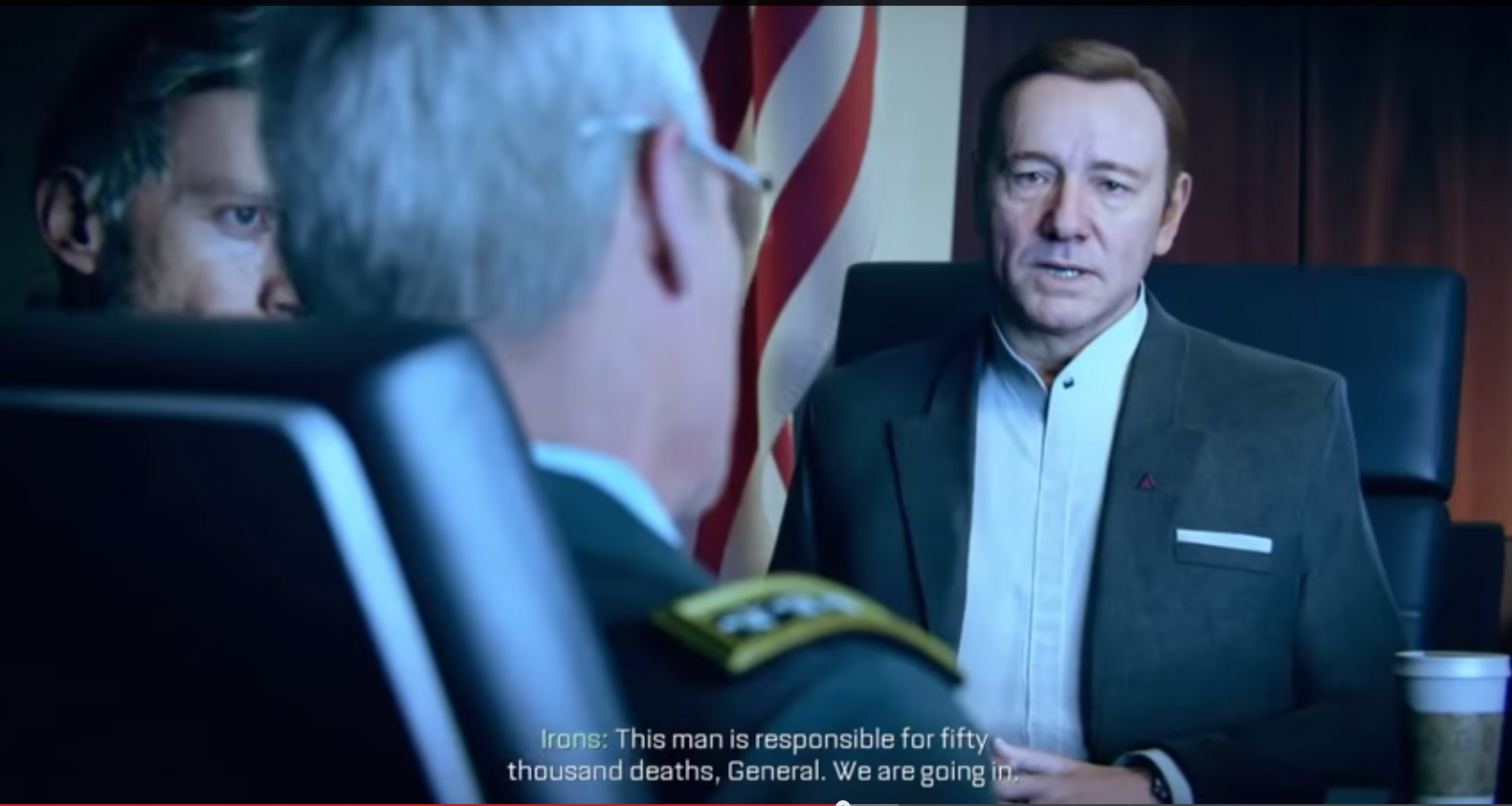 Still from Part 3 of my Let's Play, with Kevin Spacey as Irons preparing to violate another country's sovereignty.