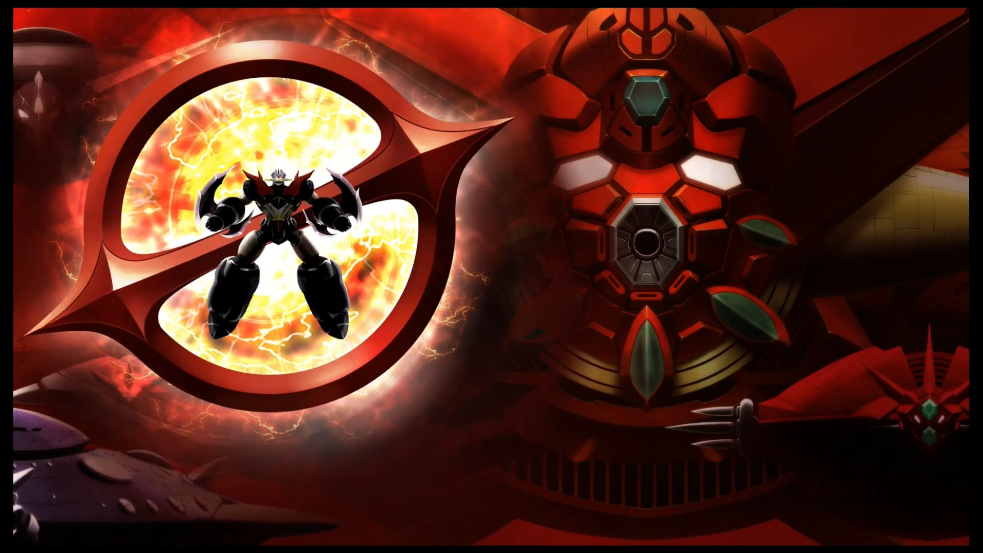 Mazinger Zero confronting the Emperor of Darkness
