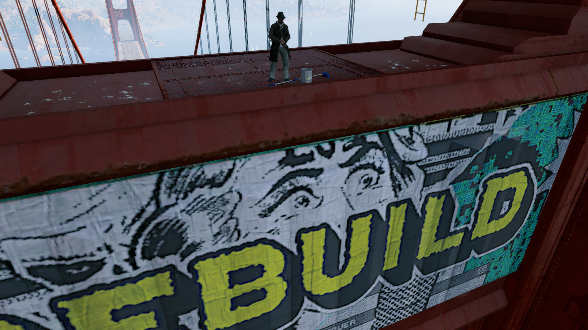 Marcus while tagging the Golden Gate Bridge