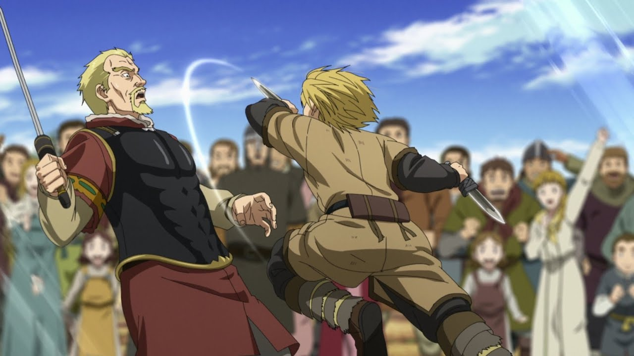 Thorfinn attacking Askeladd with his knives in Vinland Saga