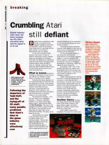 Article on Atari falling out of the game industry.