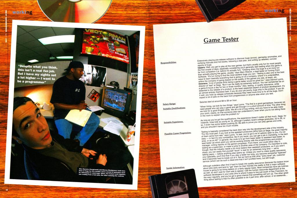 A profile of a Game Tester from the employment article.