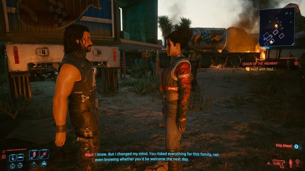 Panam and Saul talking in Cyberpunk 2077
