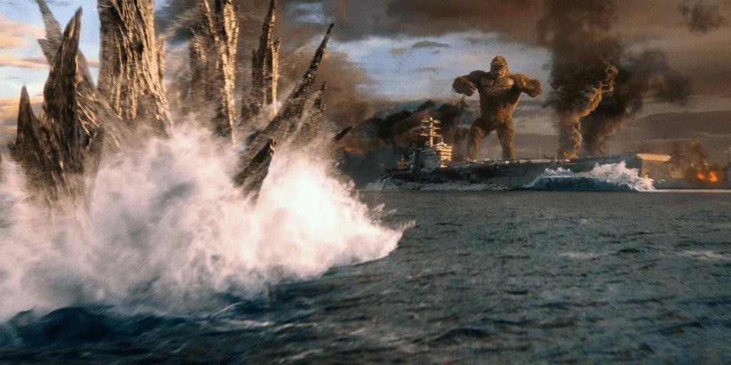 Godzilla approaches Kong on an aircraft carrier in Godzilla vs. Kong
