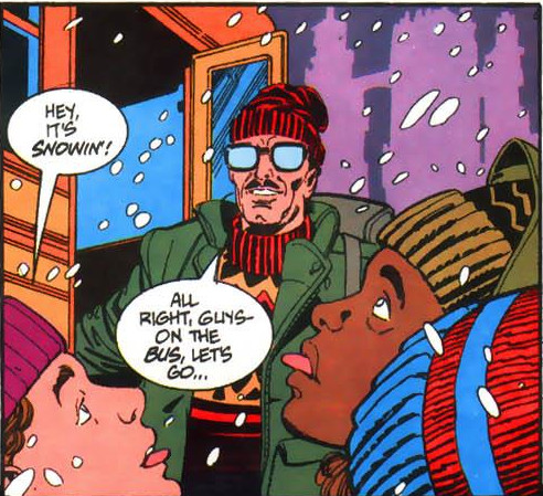 The orphans comment on the ensuing snow as they pile onto the bus.