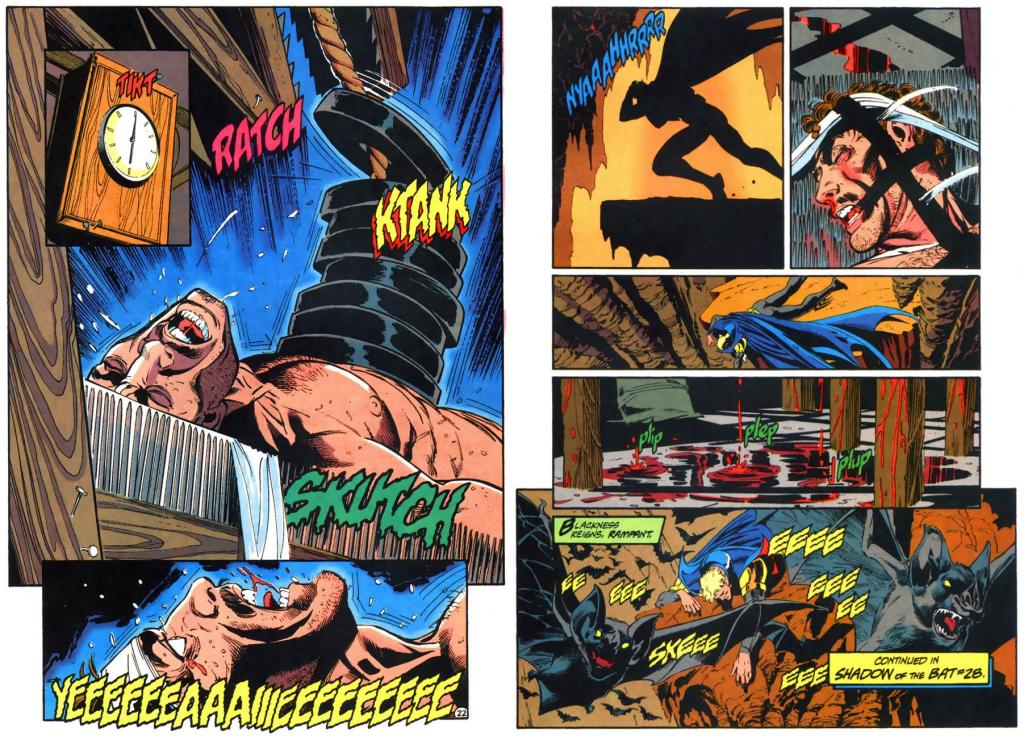 Graham Etchison dies in Abattoir's death trap while Jean-Paul cries out in the Batcave.