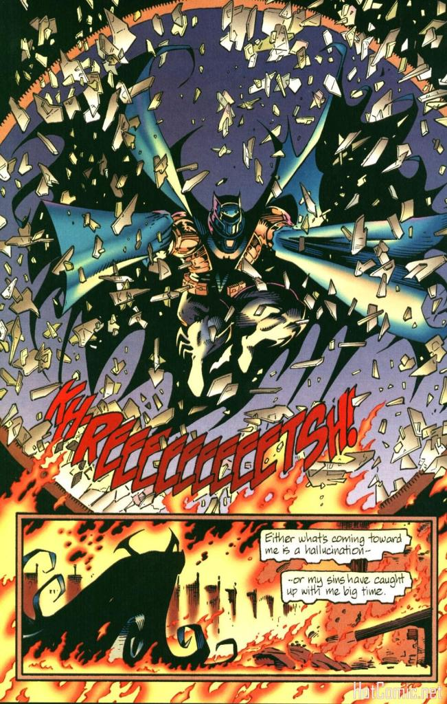 AzBat bursts through a stained glass rose window to rescue The Punisher.