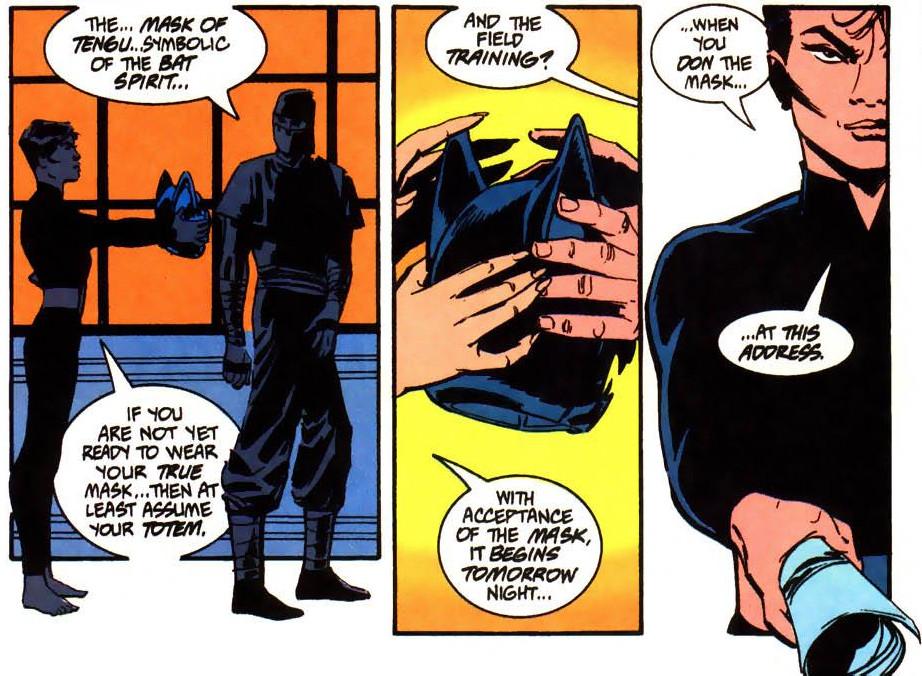 Lady Shiva hands Bruce Wayne (in a ninja costume) a helmet with a demonic bat face.