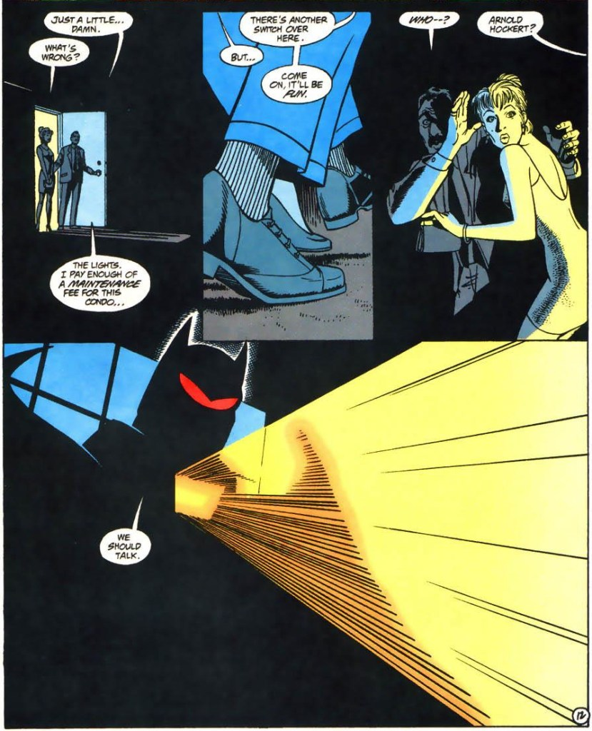 AzBat uses the light on his costume to intimidate the man who hired the assassins.
