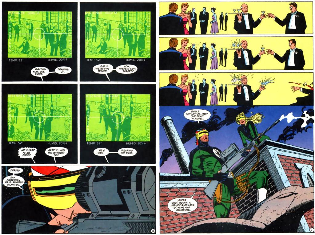 Gunhawk lines up his shot on his target and fires, with three panels showing the trajectory of the bullet before it hits its mark.