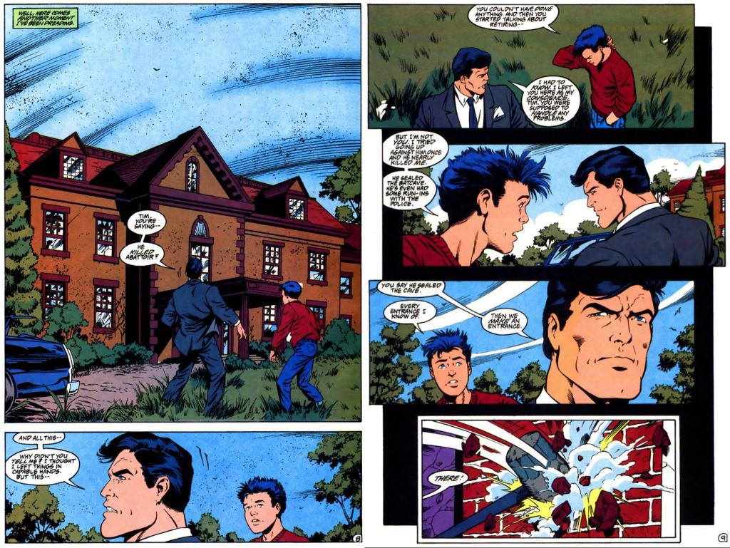 Bruce and Tim react to the outside of Wayne Manor.
