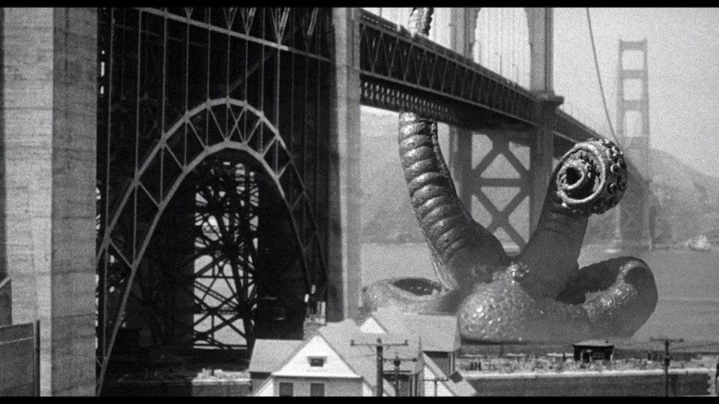 The giant Octopus pulling down the Golden Gate Bridge